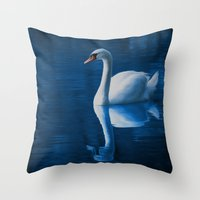 swan queen Throw Pillows featuring Swan by Spooky Dooky