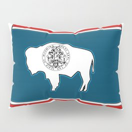 Wyoming Map with State Flag Pillow Sham