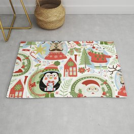 Holiday Christmas Winter Wonderland with Hipster Santa Reindeer Polar Bears and Penguins Rug