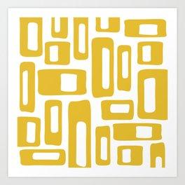 Retro Mid Century Modern Abstract Pattern 336 Mustard Yellow Art Print