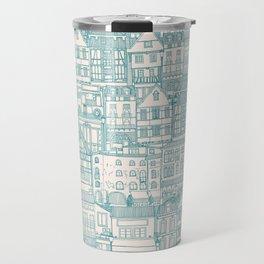 cafe buildings blue Travel Mug