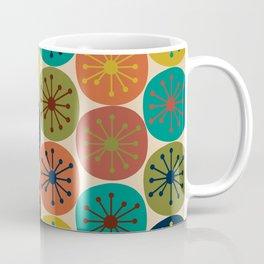 Atomic Dots Pattern in Mid Mod Teal, Orange, Olive, Blue, Mustard, and Beige Coffee Mug