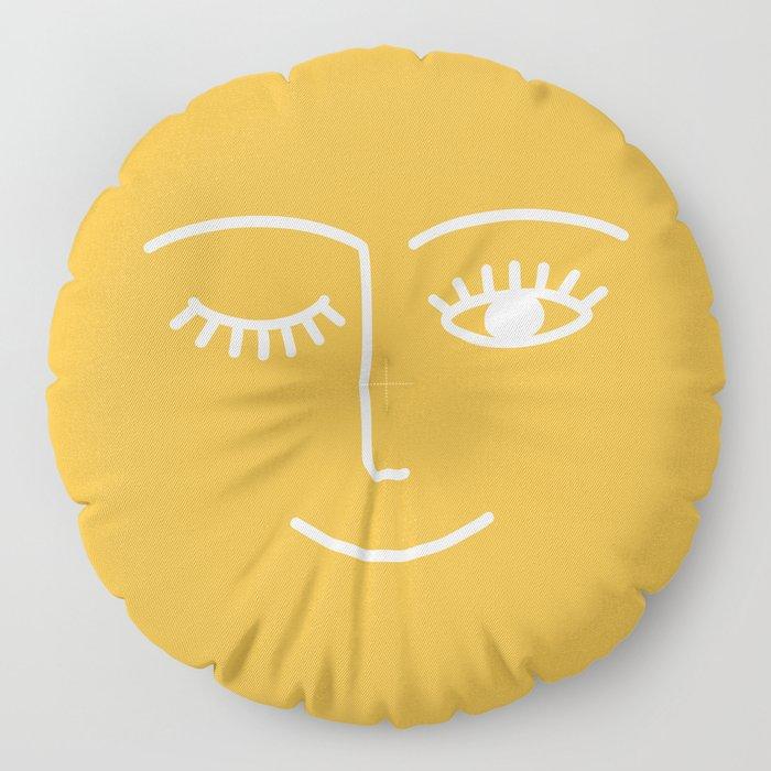 wink / mustard Floor Pillow