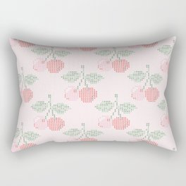 Cherry Cross Stitch Pattern on pink Rectangular Pillow