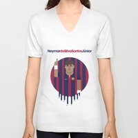 neymar V-neck T-shirts featuring Neymar Barcelona Illustration Print by Gary  Ralphs Illustrations