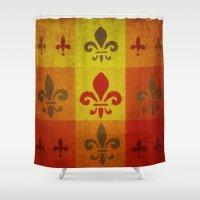 fleur de lis Shower Curtains featuring Fleur de lis #3 by Camille