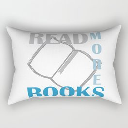 READ MORE BOOKS in blue Rectangular Pillow
