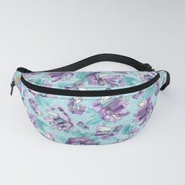 Amethyst Crystal Clusters / Violet and Aqua Fanny Pack