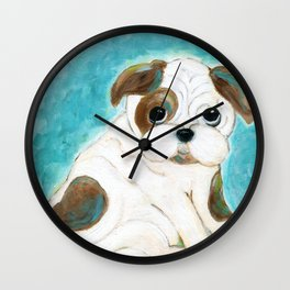 Bulldog Puppy Painting, Dog Painting, Kid's Room Decor, Dog Lover, Animal Art Wall Clock