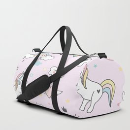 Unicorn & Rainbows Light Pink Duffle Bag