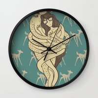 bambi Wall Clocks featuring Bambi by Shirley Hernandez