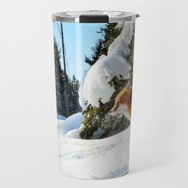 Happy Red Fox in Fresh Snow in Algonquin Travel Mug