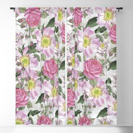 Vintage Rose Pattern Pink and White Blackout Curtain