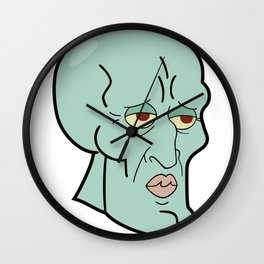 Handsome Squidward funny spongebob meme sticker shirt Wall Clock