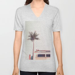 Retro Van Camper, Palm tree and Surfboards Unisex V-Neck