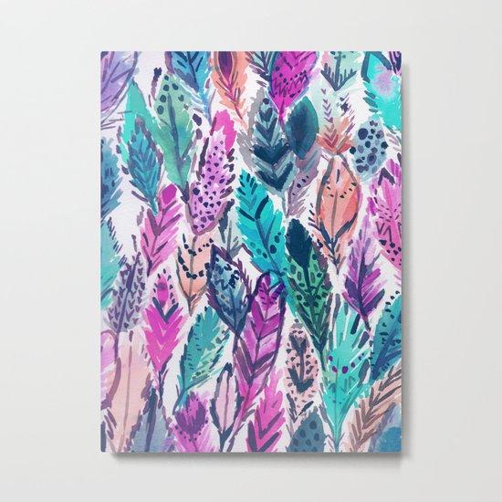 WILD FEATHERS Boho Watercolor Metal Print