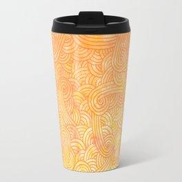 Ombre yellow and orange swirls doodles Travel Mug
