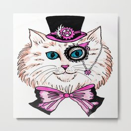 Steampunk Kitty Metal Print