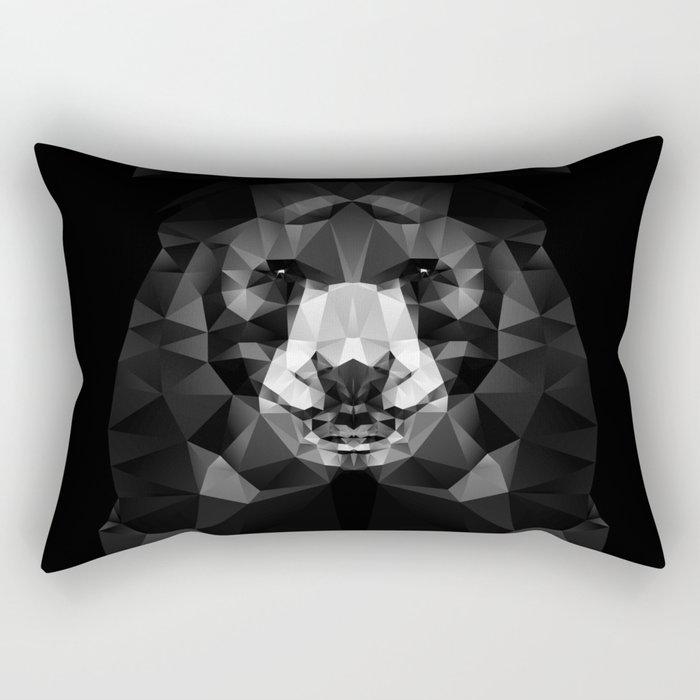 Bear - Black Geo Animal Series Rectangular Pillow