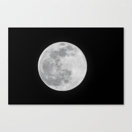 Full Moon Black and White Telescope Space Photography Canvas Print
