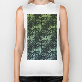 Leaf Shadows on Deck - green2turquoise Biker Tank