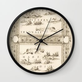 Vintage Print - Ships in the North Sea and Spitzbergen, from the Atlante Veneto (1692) Wall Clock