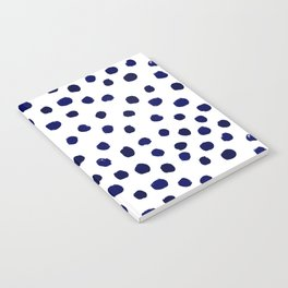 Mini dots painterly brushstrokes boho modern indigo blue and white preppy nautical dorm college art Notebook