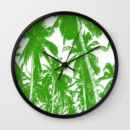 Palm Trees Design in Green and White Wall Clock