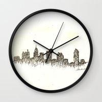atlanta Wall Clocks featuring Atlanta Skyline by Nathasa Rae