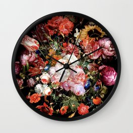 Hidden World of Insects Floral Design III Wall Clock