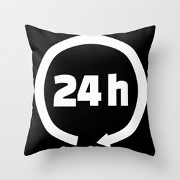 24 hours Throw Pillow
