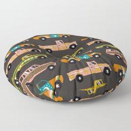 Retro Roads – Charcoal Floor Pillow