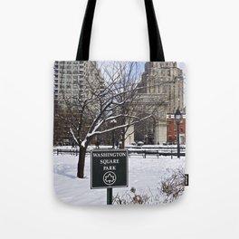 Washington Square Park in the snow Tote Bag