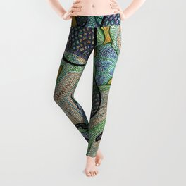 Blue Lattice Paislies Over Leaves Leggings
