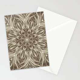 off white sepia swirl mandala Stationery Cards
