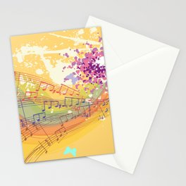 Retro Rainbow and Music Notes Exploding on a Yellow Background Stationery Cards