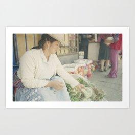 Mujer Peruana en el Mercado Art Print