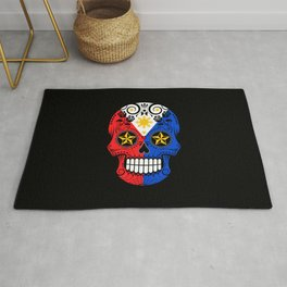 Sugar Skull with Roses and Flag of Philippines Rug