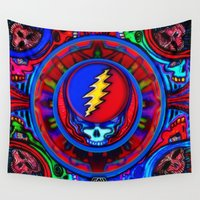 grateful dead Wall Tapestries featuring Grateful Dead 'Steal Your Face' Psychedelic Skeleton Mandala Skull Tapestry by CAP Artwork & Design