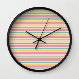 Pastel Spring Stripes Wall Clock
