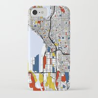 seattle iPhone & iPod Cases featuring Seattle by Mondrian Maps