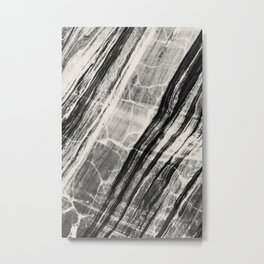 Abstract Marble - Black & Cream Metal Print