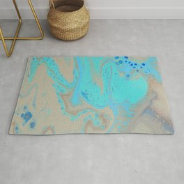 Fluid Art Acrylic Painting, Pour 28, Blue, Turquoise, Tan & Brown Blended Color Rug