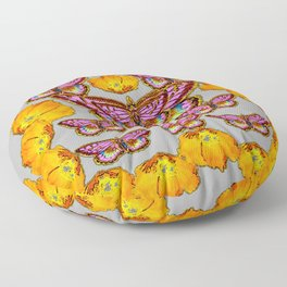 DECORATIVE ORANGE POPPIES & PINK MOTH PATTERNS Floor Pillow