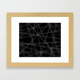black and white random lines Framed Art Print