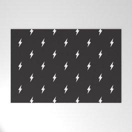 Lightning Bolt Pattern Black & White Welcome Mat