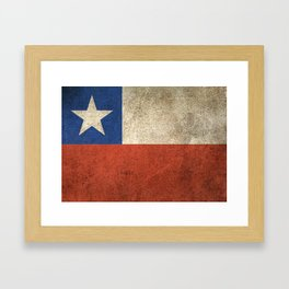 Old and Worn Distressed Vintage Flag of Chile Framed Art Print