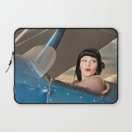 """Plucky Pilot"" - The Playful Pinup - Pilot Pin-up Girl in Airplane by Maxwell H. Johnson Laptop Sleeve"