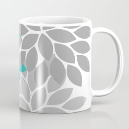 Flower Burst Turquoise Gray Dahlia Floral Pattern Coffee Mug
