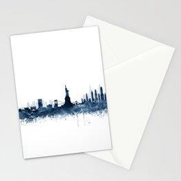 New York City Skyline  Blue Watercolor by zouzounioart Stationery Cards